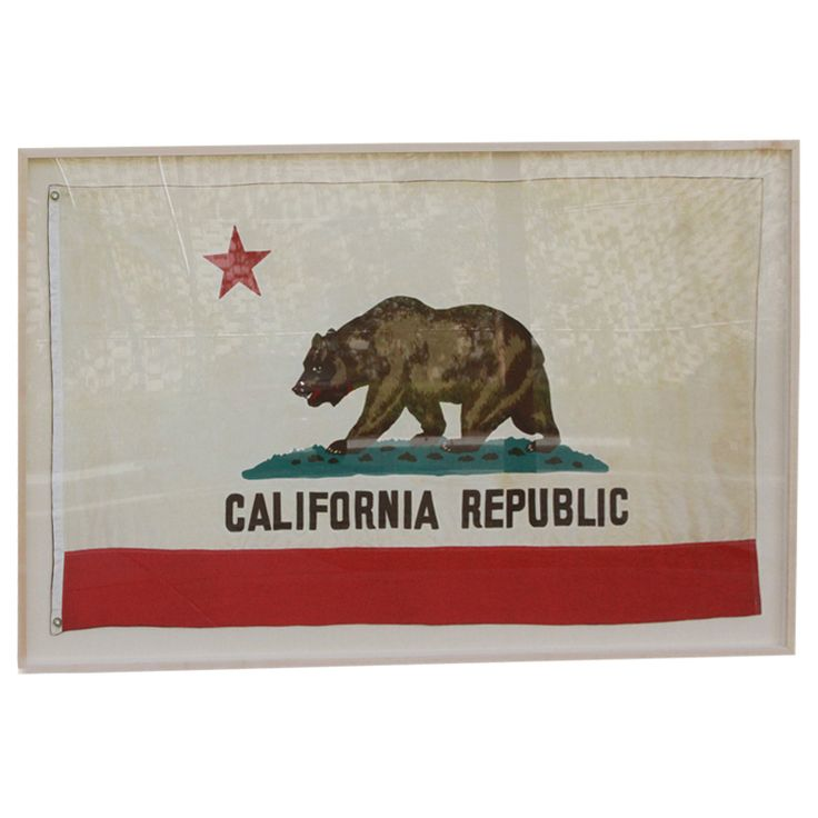 Framed vintage California Republic flag. USA. Late 19th century. Beautiful, large SCANNED copy of vintage California Republic flag with raw wood frame. Shadow boxed, matted on linen. $1,250