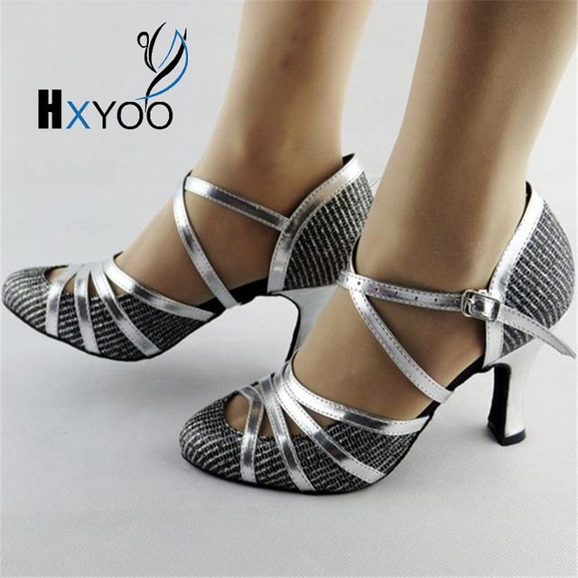 Popular Latin Dance Shoes Salsa Shoes Women Ballroom Dancing Shoes Ladies Tango Point Silver Comfort High Heels Soft Soled