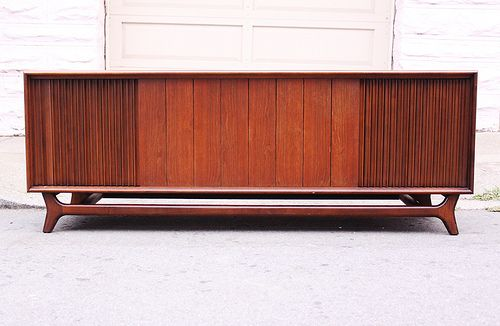 Hi fi console in walnut made by packard bell house for Mid century modern furniture hawaii