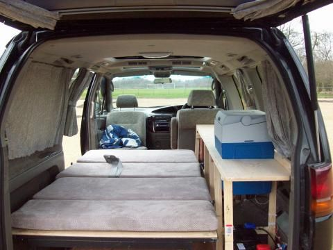 nissan elgrand camper conversion mini van camping. Black Bedroom Furniture Sets. Home Design Ideas