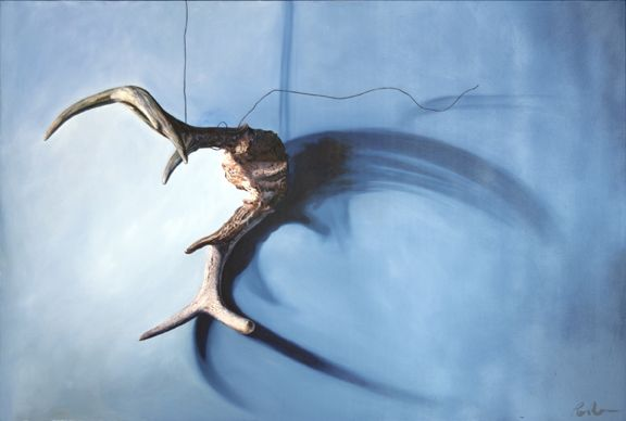 Antler on a wire  oil on panel  24 in (60.96 cm) x 36in (91.44cm)