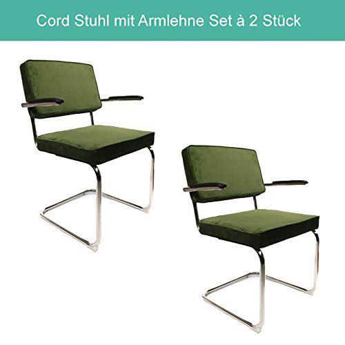 Corduroy Freischwinger Esszimmerstühle Set à 2 Stück Retro Cord Design mit rostfreiem Stahlrahmen (Original mit Armlehne, Grün)