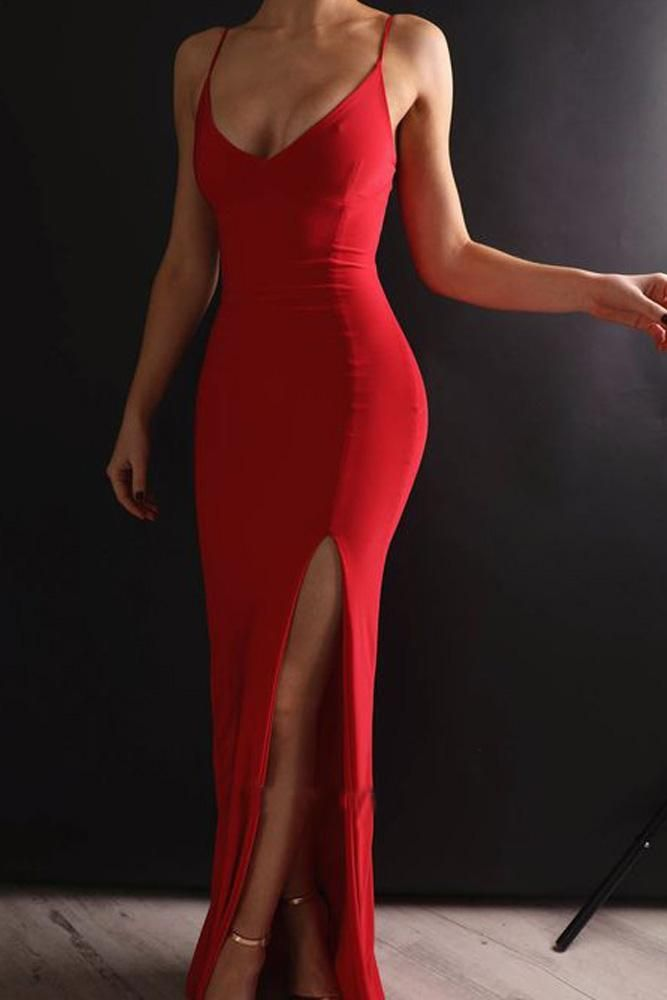 Great Sexy Mermaid Spaghetti Straps V Neck Red Side Slit Satin Long Prom Dresses #even…