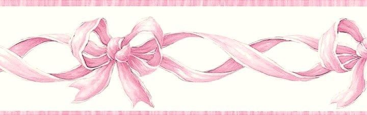 Pink Ribbons And Bows Girls Baby Room Wallpaper Border Chesapeake Pink Ribbon Wallpaper Room Wallpaper Wallpaper Border