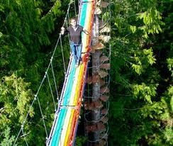 "Cedar Creek Treehouse ""Stairway to Heaven"" Mount Rainier, WA.  82 ft into the sky, climbers face challenge: a rainbow-colored suspension bridge that stretches 43 feet over the forest floor."