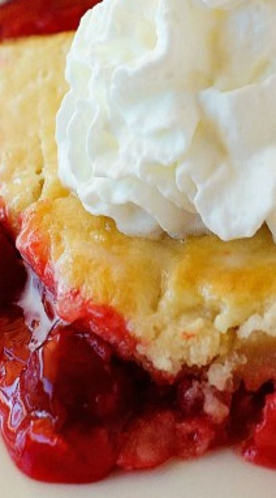Easy Cherry Cobbler ~ Full of cherry goodness with the perfect biscuit/cake-like crust... It comes together easily and tastes so good.