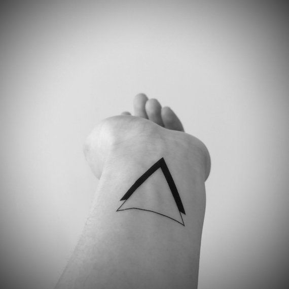 poignet de tatouage - tatouage temporaire InknArt - 2pcs noir Triangle Double quote tatouage tatouage petit autocollant tatouage tatouage faux corps mariage
