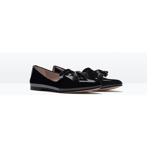 Zara Glossy Flat Shoes (€32) via Polyvore featuring shoes, zara footwear, shiny shoes, flat pumps, polish shoes and flat heel shoes