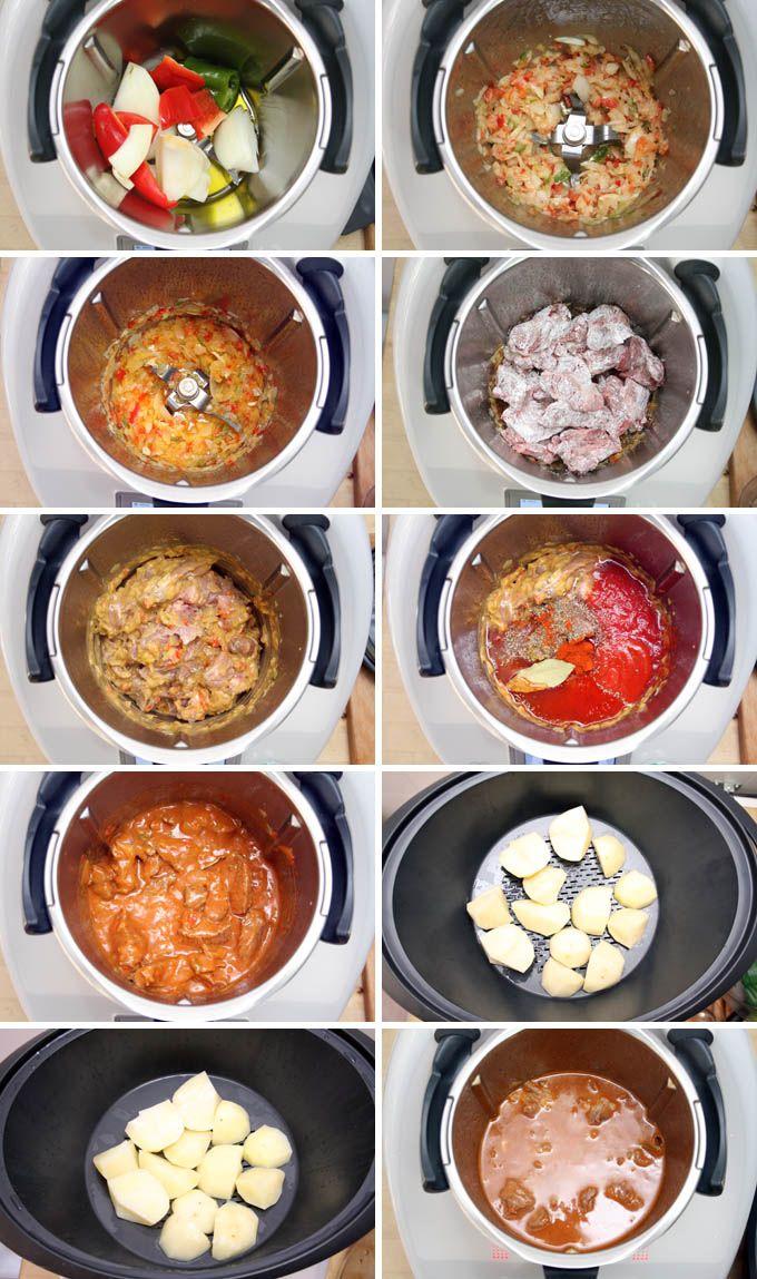 preparacion Ternera guisada con patatas al vapor en Thermomix