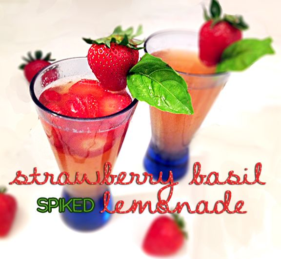 strawberry basil spiked lemonade