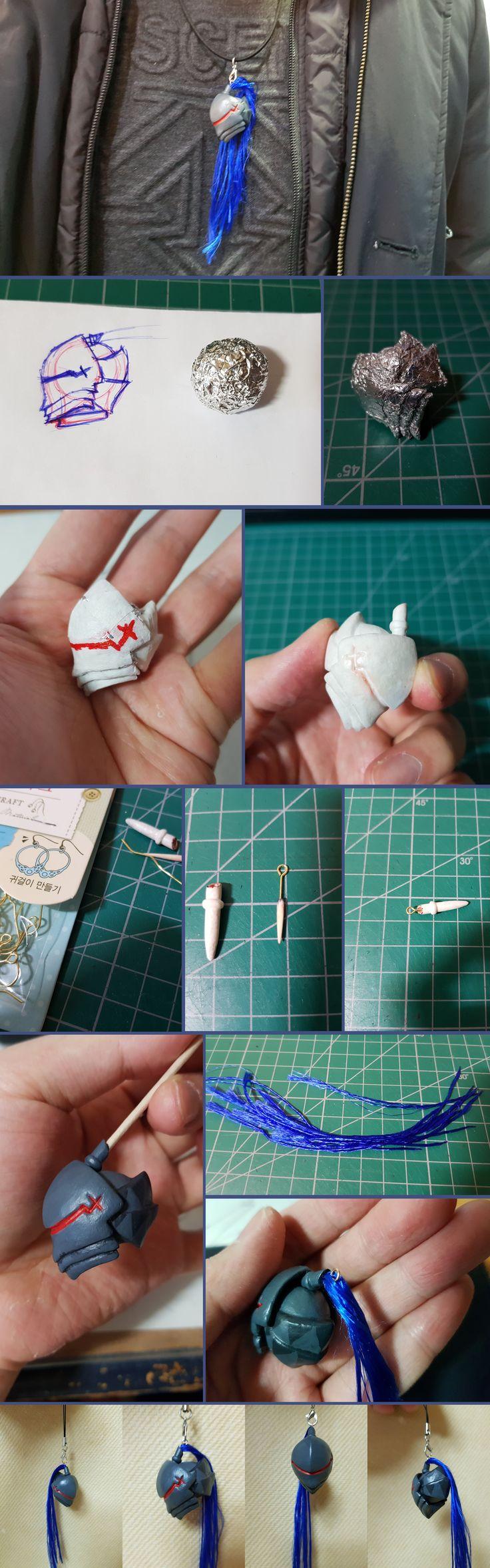 FATE LANCELOT BERSERKER HELMET ACCESSORY DIY with aluminium foil, paper towel (papermache), acrylic paint, etc.
