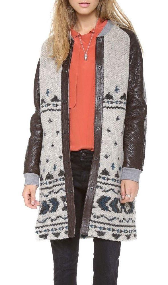 Gryphon $953 Leather Fair Isle Pattern Texture Wool Varsity Baseball Coat M #Gryphon #BaseballCoat