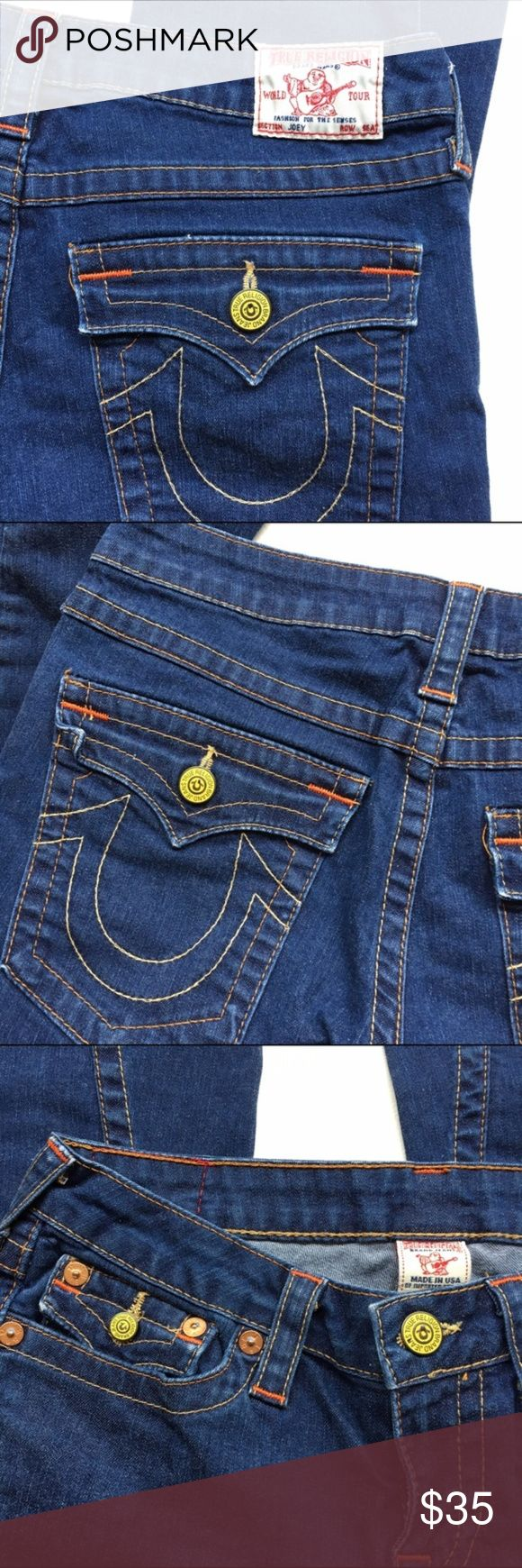 "TRUE RELIGIAN JEANS Twisted flare jeans. Model name : JOEY. Neon colored buttons. Classic True Religion low rise style featuring the signature multi thread combo and back flap pockets embellished with the iconic ""U"" logo. Inseam 30"". Weekend SALE. Price will go up week day. CATEGORY True Religion Jeans Flare & Wide Leg"