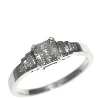 Art Deco Asscher cut and baguette Diamond ring