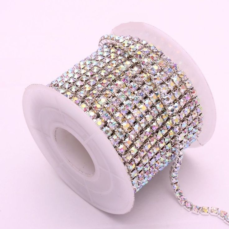Hot 10 Yards Silver & Gold Crystal AB Rhinestone Chain DIY Sewing Accessories #Unbranded