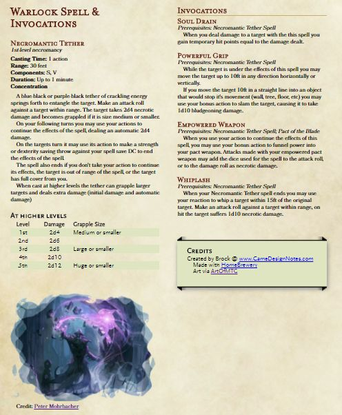 Necromantic Tether - A homebrew Warlock Spell with Invocations