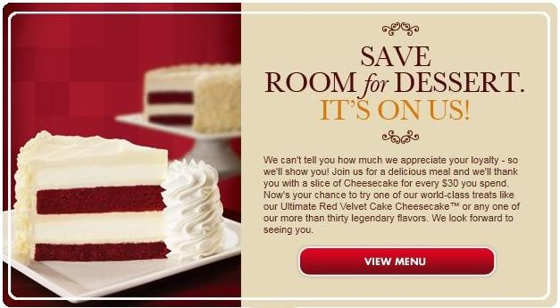 Looking for The Cheesecake Factory coupons?  Here are some ways to get discounts and printable coupons for The Cheesecake Factory.