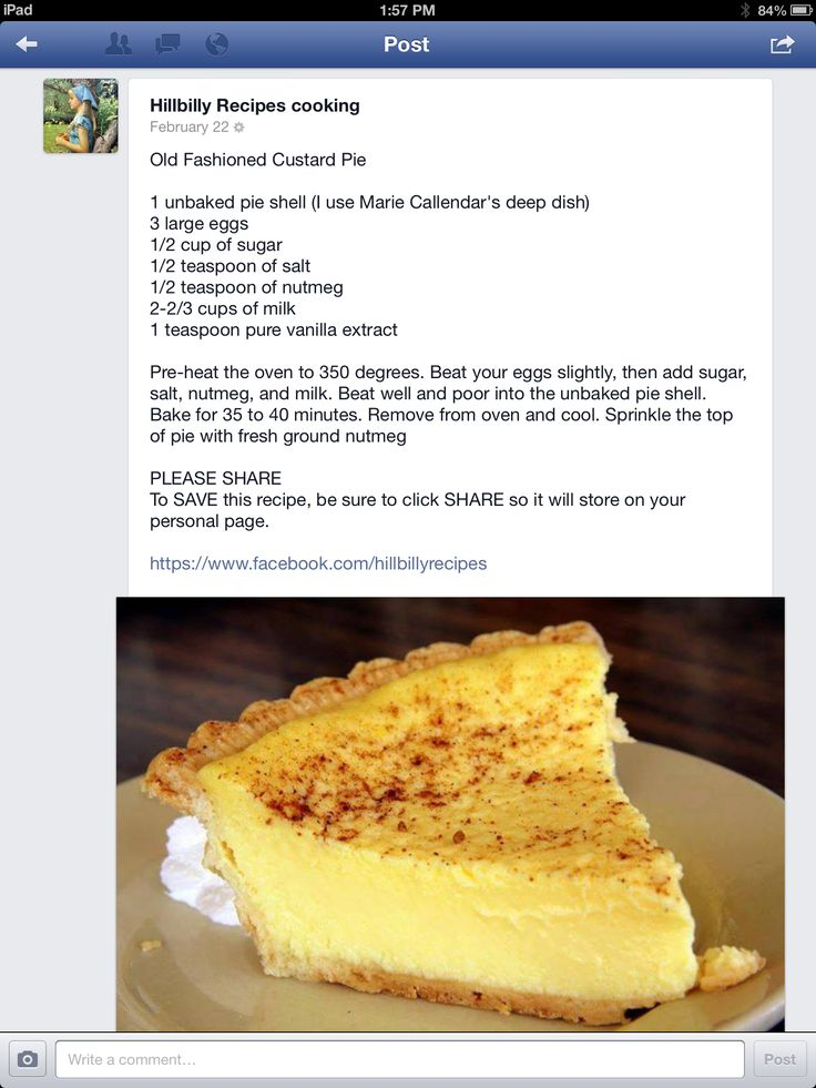 Old Fashioned Custard Pie Hillbilly Recipes