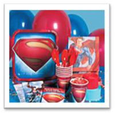 Save yourself time and money with a Superman Party Pack - tableware, decorations and party bags for 16 kids.