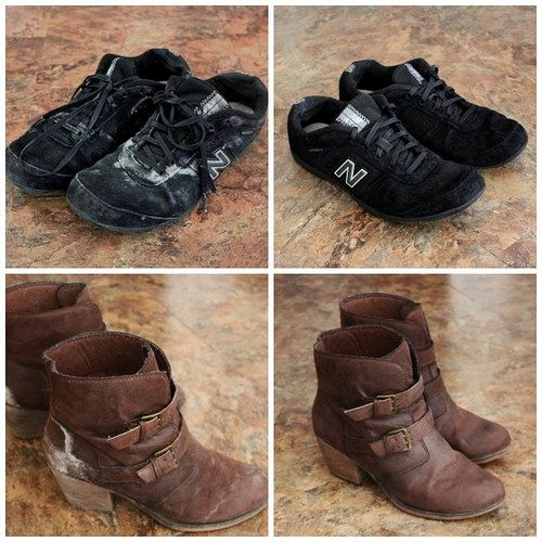 Cleaning Salt Stains off Suede Sneakers and Boots {from Small Home Big Start}
