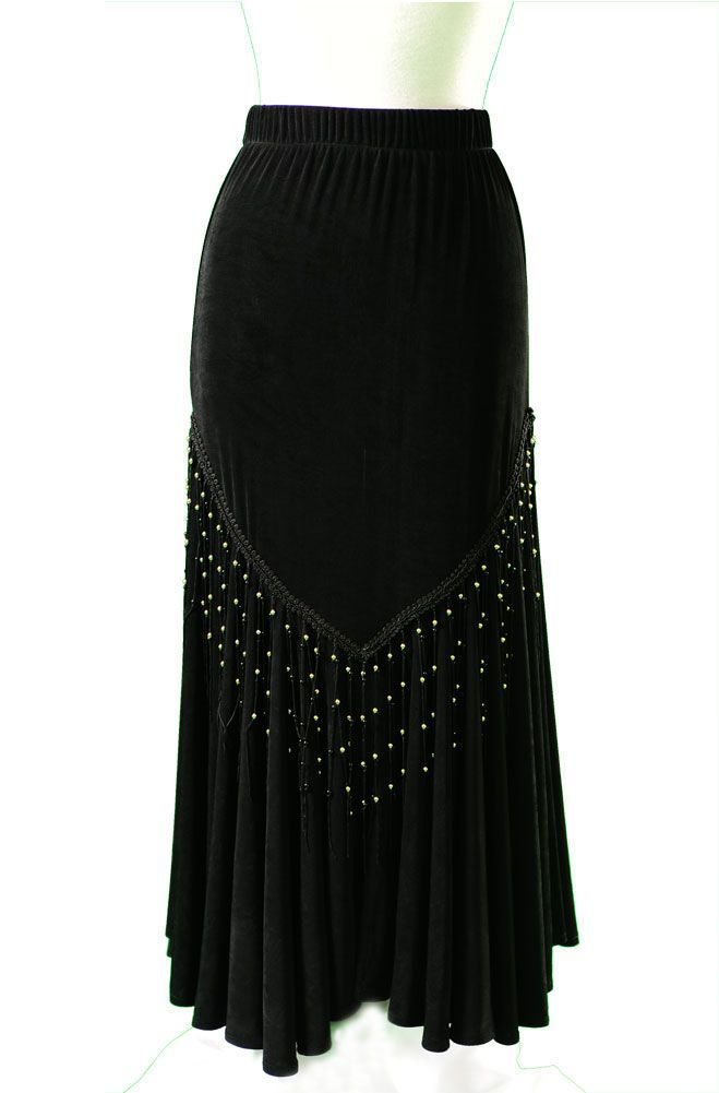 Fine slinky jersey ankle-length skirt has an unusual bias-cut flounce with slits in the back and front. The skirt is decorated around the yoke with black fringe, gold and black beads which complements the matching shawl.  Wear this skirt with the slits on the side for a different look. 100% Rayon.  Dry Clean