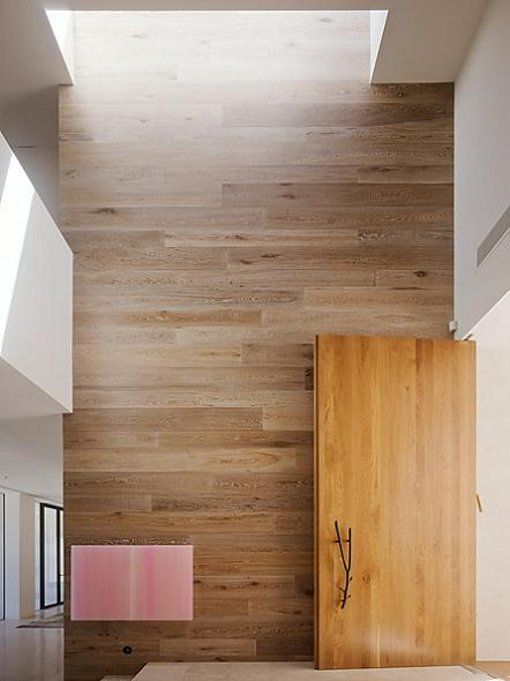 Wall becomes architectural feature. Love this timber lining idea. Would love to see it in our Clear Ash boards.