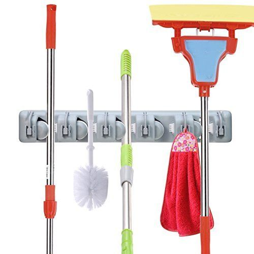 OuTera Broom Mop Holder Wall Mounted 5 Position Tool Storage Tool Rack Utility Holder Home Organization Storage Solutions Kitchen Tool Organizer for Closet Organizer[1 Yera Warranty]