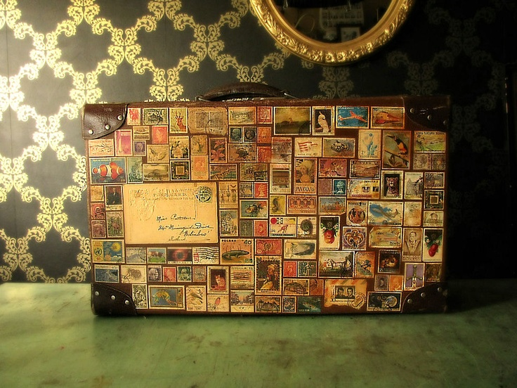 Around the World in 80 Stamps Vintage Travel Luggage Suitcase. £130.00, via Etsy.