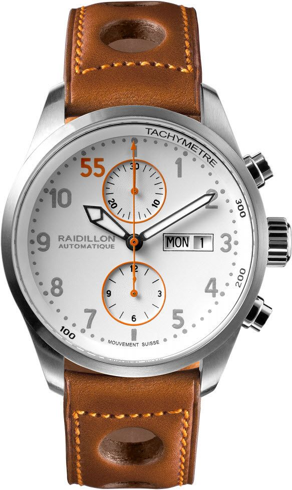 Raidillon Watch Timeless Chronograph Limited Edition. Clean lines and love the stylish orange second hand