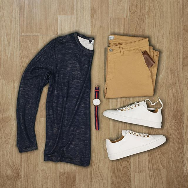 Kick it back and relax #happyhumpday:camel: Follow for more: @votrends & @hunter_vought :white_check_mark: Shirt/Chinos: @nonationality07 Sneakers: @koiocollective Watch: @defyex Wallet: @fossil #flatlay #flatlays #flatlayapp www.theflatlay.com