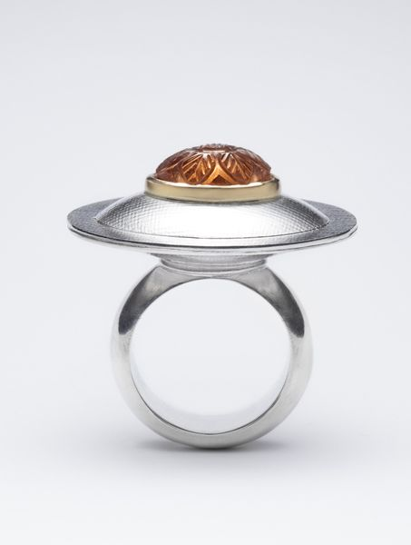 France Roy | A Mountain and a Flower| Ring. Sterling silver, 18 k gold, hessonit garnet.