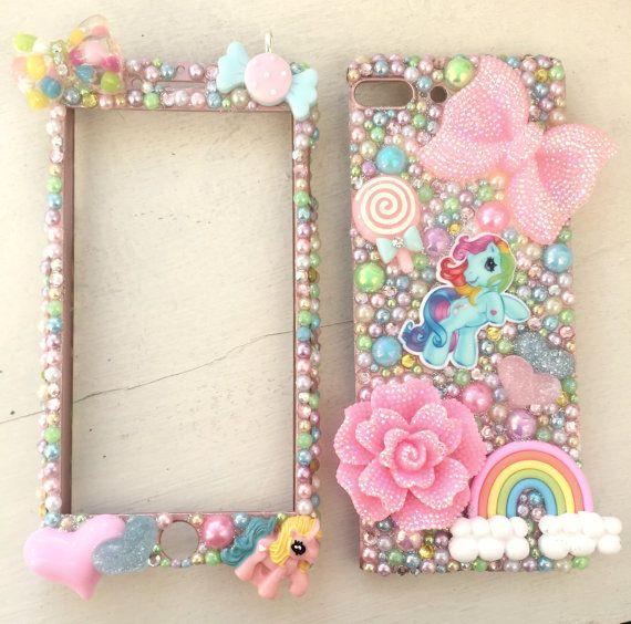 Aangepaste thema iPhone OR samsung geval. Voorste en terug beschermende 3D. Bling 3D barbie roze mijn little pony regenboog ombre kast klei 3D kawaii