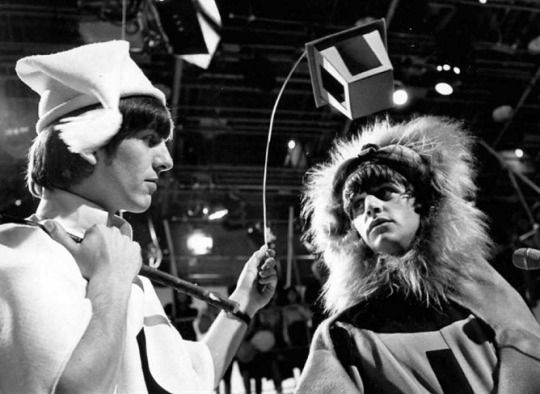 George as 'Moonshine' & Ringo as 'Lion', 28 April 1964, Studio 5AB at Rediffusion's Wembley Studios, London.during the Shakespeare skit segment during the 'Around The Beatles' special.