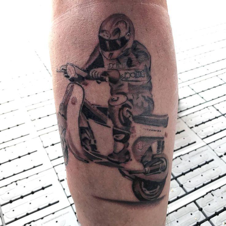 Polini tattoo 💙🛵#polini #poliniitaliancup #vespa #tattoo #ink #tattoos #skin #tattooart #rider #passion #art #wheelie #blackandwhite