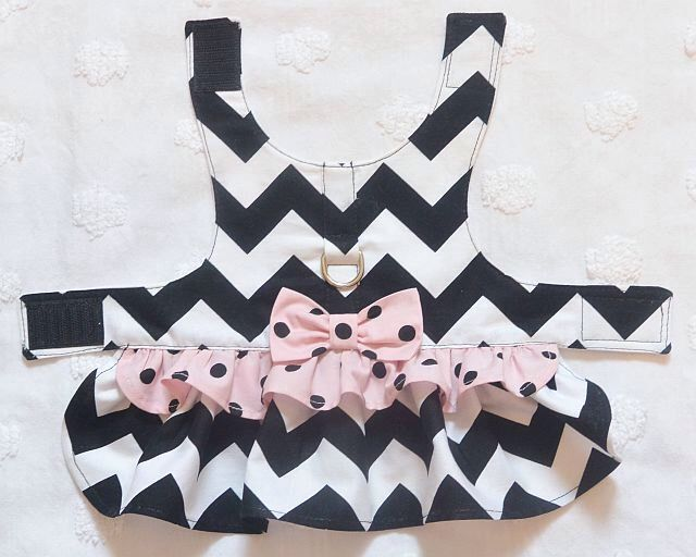Dog Harness Dress Black Chevron with Pale Pink and Black Dots by piddleronthewoof on Etsy https://www.etsy.com/listing/197028794/dog-harness-dress-black-chevron-with