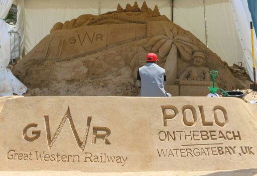 Sand sculpture for GWR Great Western Railway, sponsors of 2015 Polo on the beach at Watergate Bay in Newquay, Cornwall.