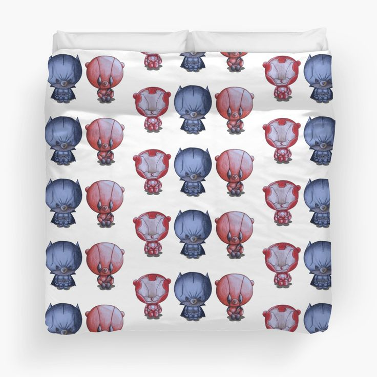 """""""3 Little Hero's"""" by I Love the Quirky - Duvet cover, available in Twin, Queen and King. Illustration of Iron Ted, Bat Bear and Tedpool"""