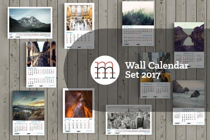 Set of wall calendar InDesign templates for 2017 year. A3 & Tabloid. 5 different styles. 5 different portrait and landscape front covers. Place for photo, company logo and contact info. Fully editable layered InDesign template (.INDD CC + .IDML).