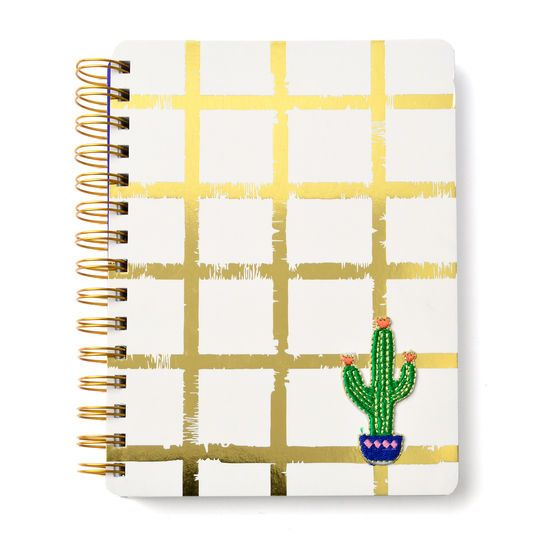 Mara-Mi Gold Grid Notebook With Cactus Patch