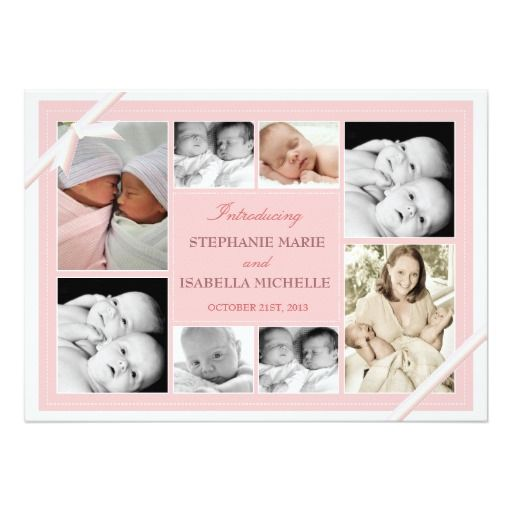 Twin Baby Photo Collage Baby Announcement | Pink Invitation Card