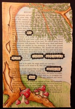 Zentangle poetry journal page...Here a mushroom, partially risen out of the earth, conversing with Nature