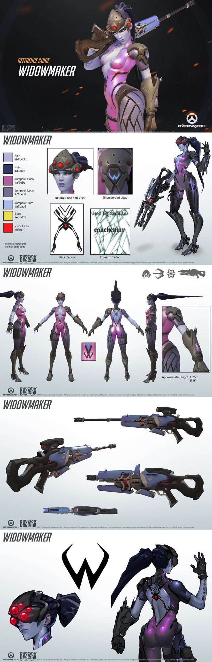 Character Design Overwatch : Overwatch widow maker reference guide weapon