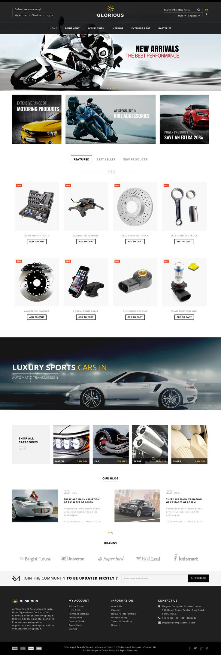 Glorious Magento Responsive Theme is specially designed for fashion design, electronics, mobile, foods, jewellery, tools, auto & #spare parts and multipurpose stores. #car #bike #website