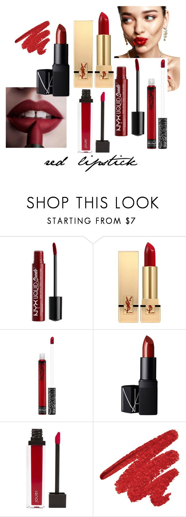 """""""Why you need a red lipstick in your purse?"""" by anamariahodinet on Polyvore featuring beauty, KAROLINA, Yves Saint Laurent, Kat Von D, NARS Cosmetics and Jouer"""