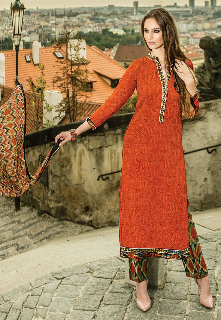Printed Chiffon Pakistani Suit in Rust