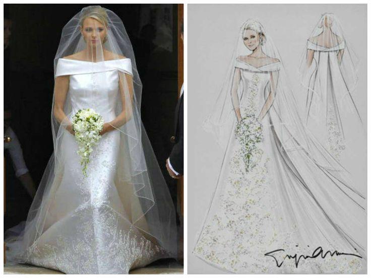 02/07/2011 Charlene Wittstock sposa Alberto II principe di Monaco. Abito disegnato dalla maison Armani.
