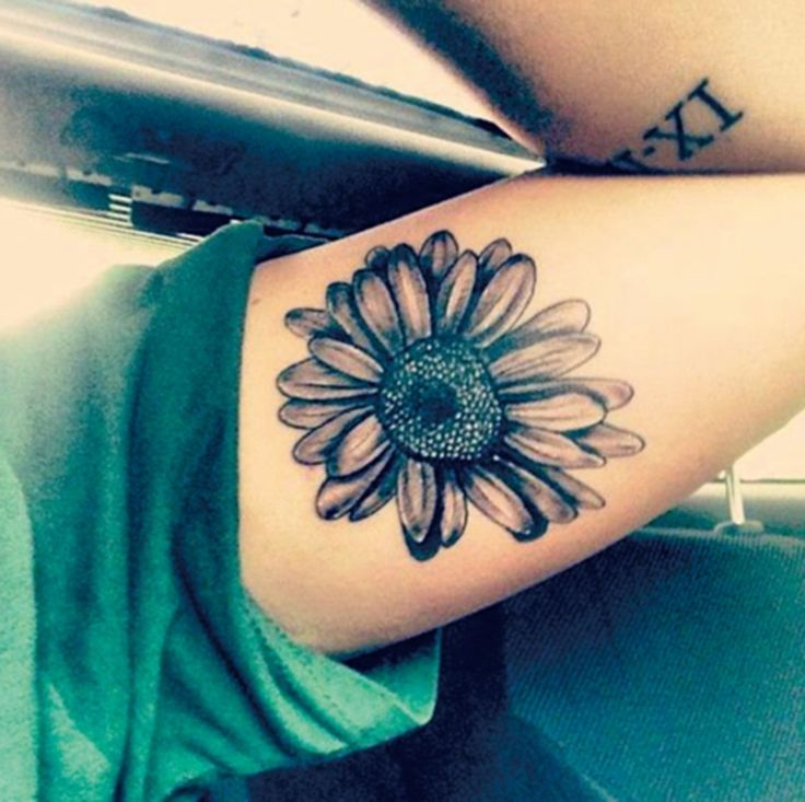 Black and White Vintage Traditional Sunflower Tattoos - MyBodiArt.com