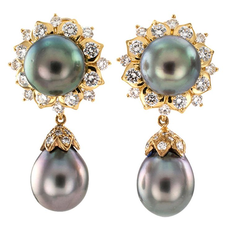 Day-Into-Night Tahitian Pearl Diamond Drop Earrings | From a unique collection of vintage drop earrings at https://www.1stdibs.com/jewelry/earrings/drop-earrings/