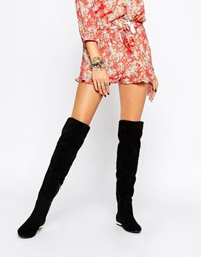 Daisy Street Black Flat Over The Knee Boots