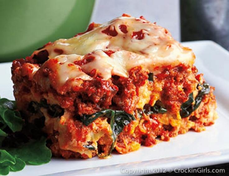Crockin' Lasagna with Spinach. I've made this before & it's really good.Crockpot Lasagna, Slow Cooker Recipe, Crockin Girls, Food, Crockingirls, Savory Recipe, Crockpot Recipe, Crock Pots Lasagna, Lasagna Recipe